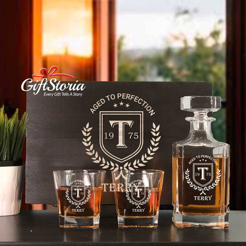 Personalized Whiskey Decanter Set (Design 8)