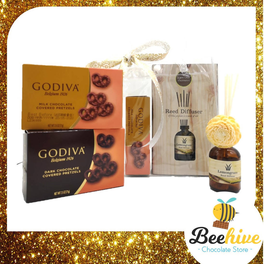 Beehive Chocolate Reed Diffuser Aromatherapy Premium Gift Set with Godiva Chocolates