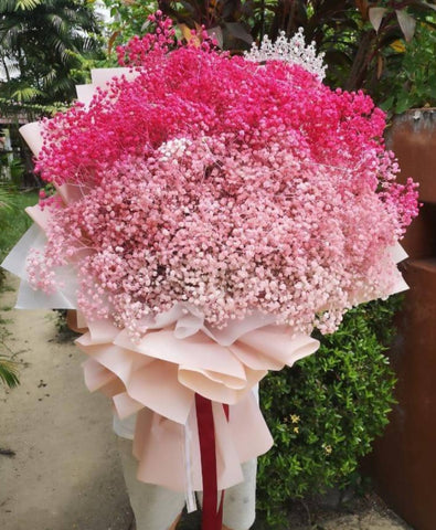 Huge Pink Baby Breath Flower Bouquet