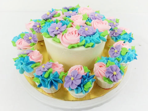 Floral Theme Cake and Cupcakes