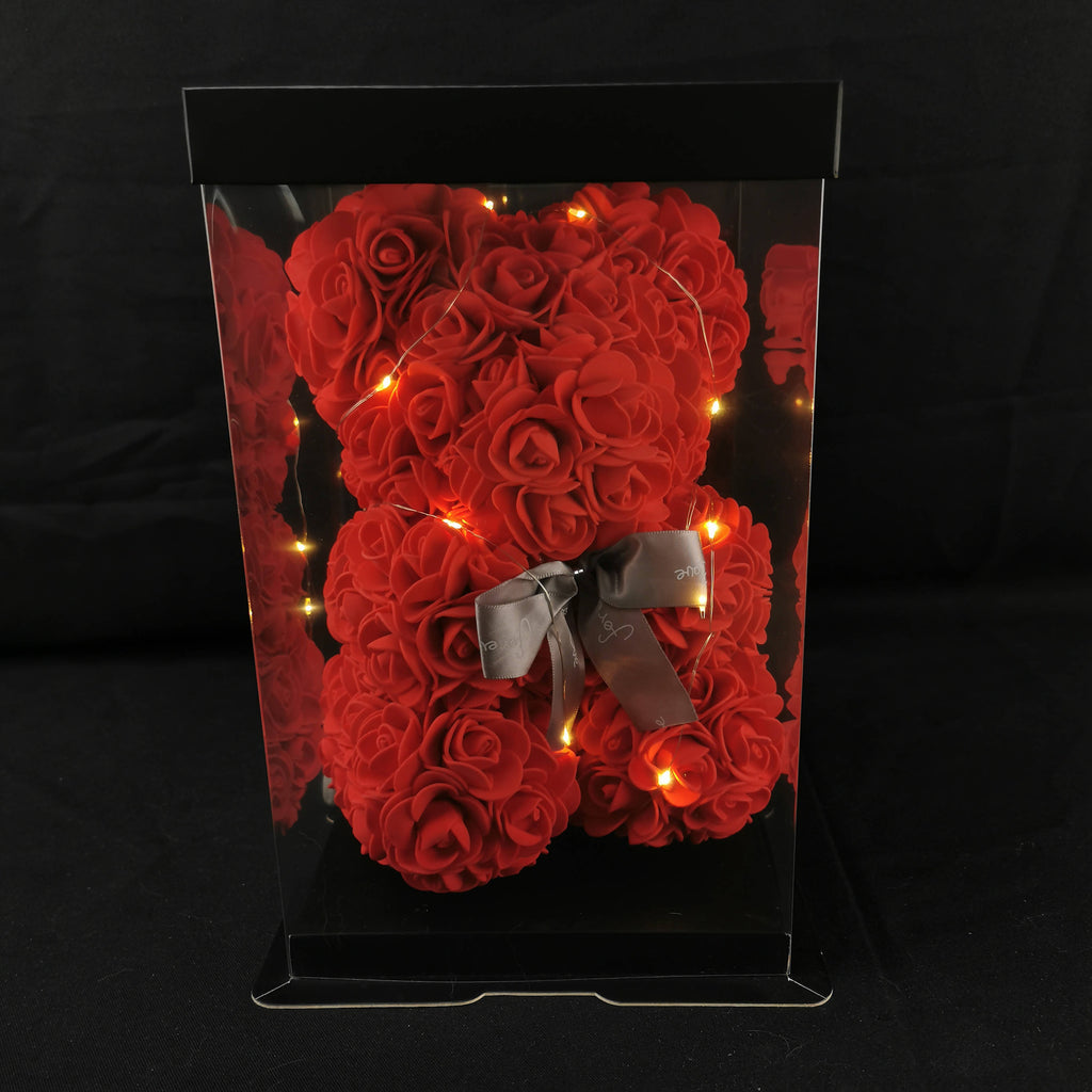 Artificial Rose Bear 26cm (Red)
