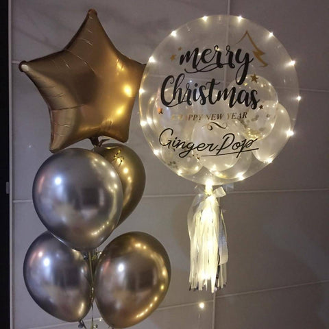 Christmas 2018 Bubble Balloon with LED lights & Balloon Bunch Set