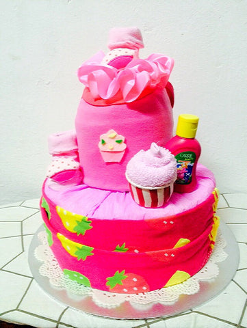 Strawberry Muffin Diaper Cake