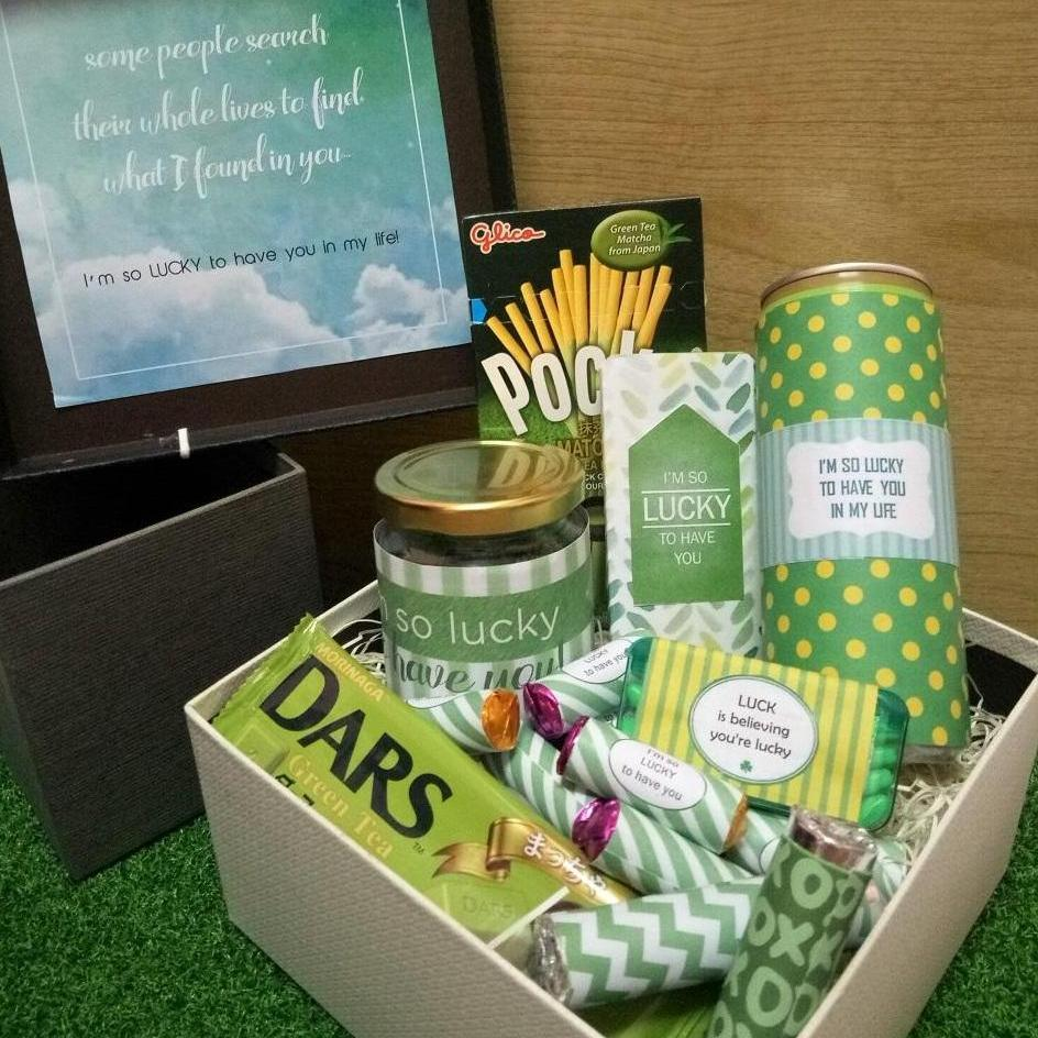 Personalised Lucky Gift Box Green