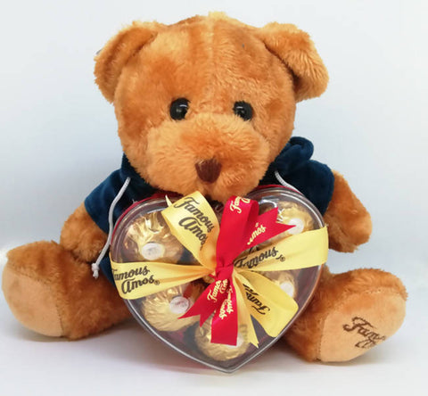 Famous Amos Teddy Bear with Ferrero Rocher Chocolates