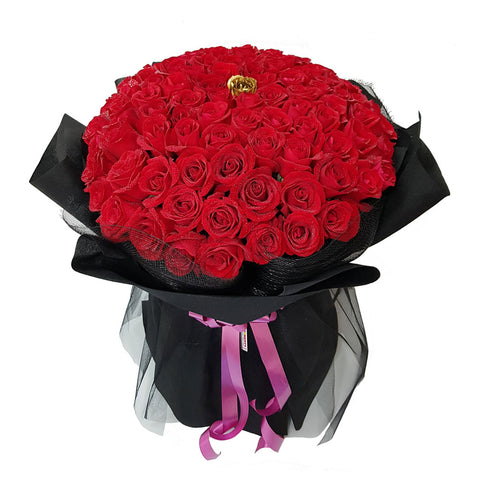 Golden Kiss Luxury Red Roses Bouquet (Johor Bahru Delivery)