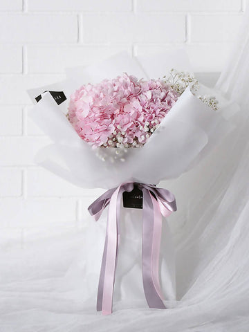 Pink Hydrangea with Baby's Breath