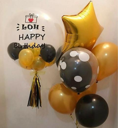 Customised 'Happy Birthday' Bubble Balloon Package (Gold & Black)