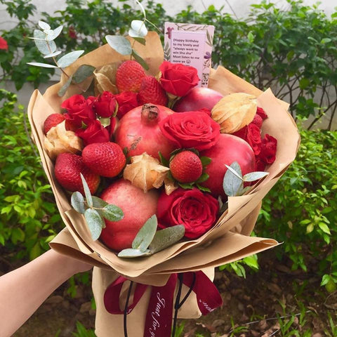 Red Bloom Fruits Bouquet
