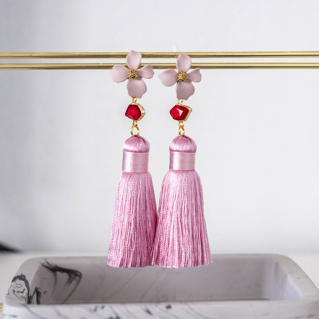 Pink Flower with Premium Silk Tassel Gold Earring
