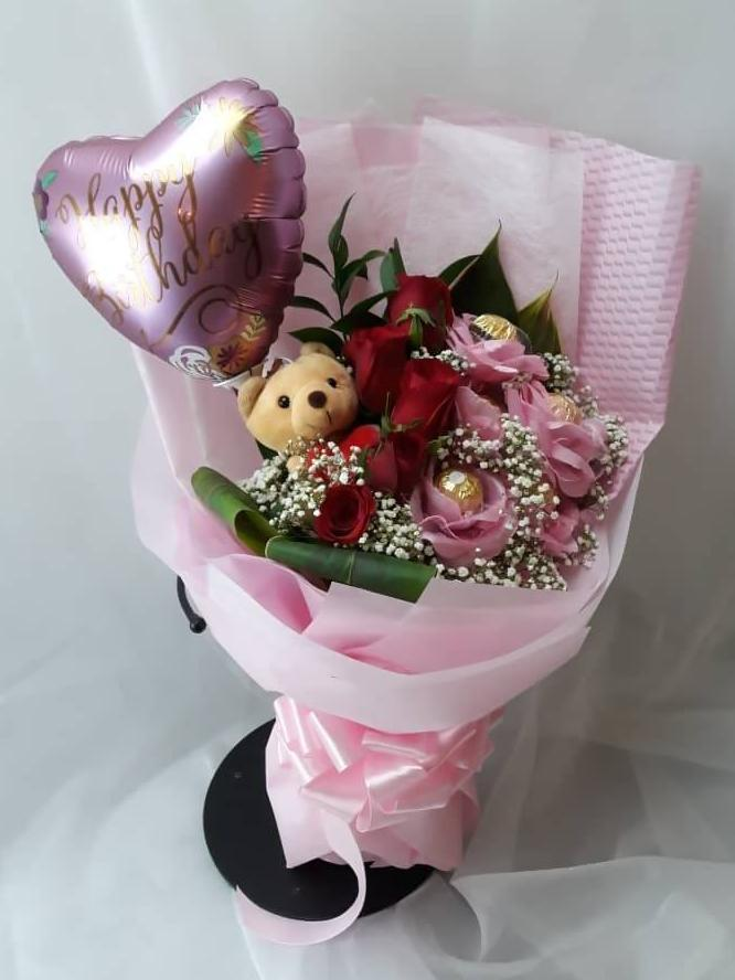 Happy Birthday Roses Bouquet with Bear and Balloon