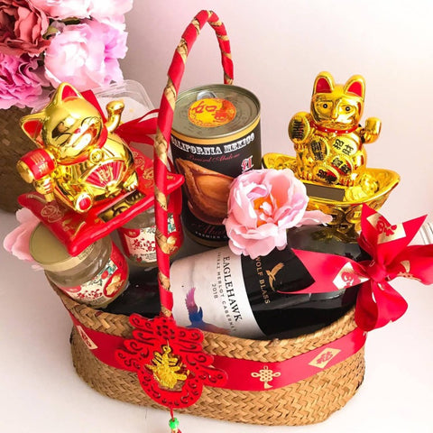 Chinese New Year 2021 Double Lucky Cat Premium Gift Basket