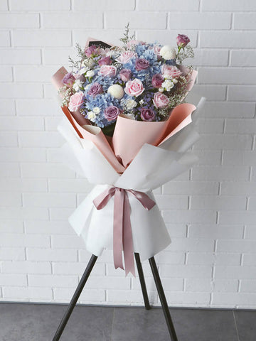 Blue Hydrangea + Pastel Rose Opening Flower Stand
