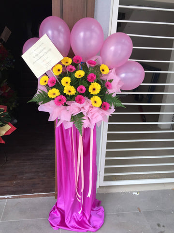 Pink Balloon Mix Flower Grand Opening Flower Stand