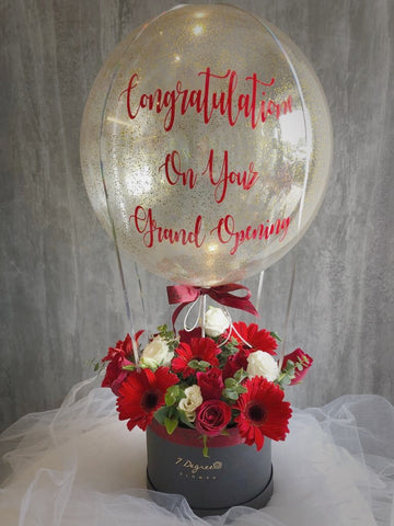 Red & White Theme Flower Box with Hot Air Balloon