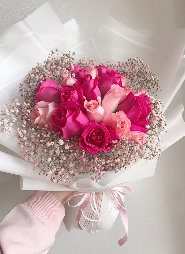 First Love Hot Light Pink Roses Bouquet Giftr Malaysia S Leading Online Gift Shop