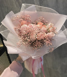 Sweetheart Full Pink Roses with Baby Breath Bouquet