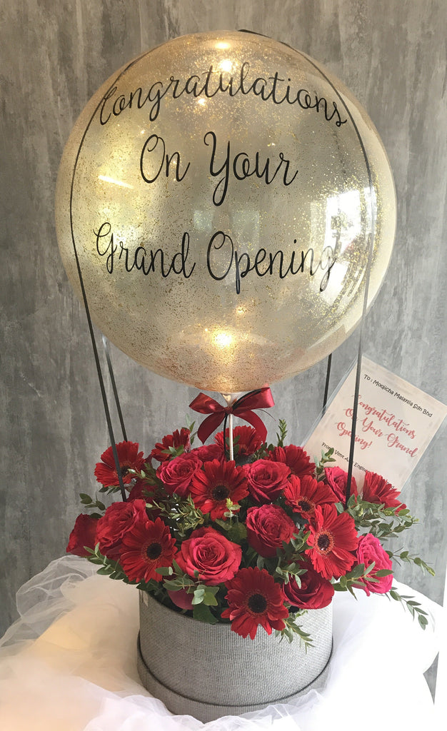 Premium Opening Flower Box with Hot Air Balloon