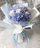 Blue Hydrangea with Cream Roses Bouquet
