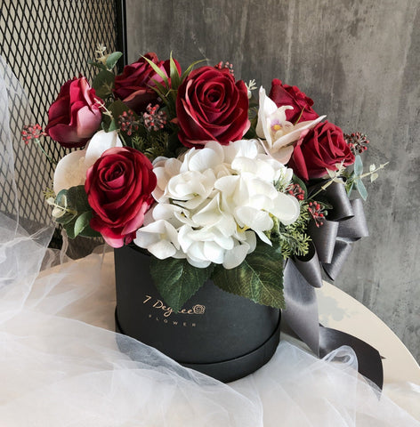 Signature Artificial Roses and Orchid Flower Box