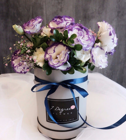 Purple Eustoma Flower Box