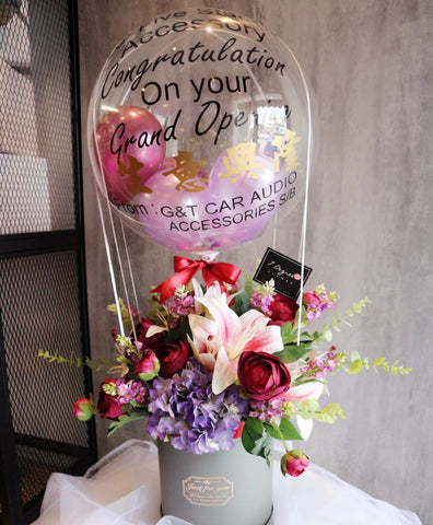 Artificial Flower Box with Hot Air Balloon
