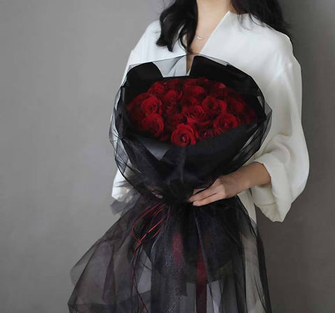 Red Rose Little Black Lace Dress Bouquet (33 stalks)