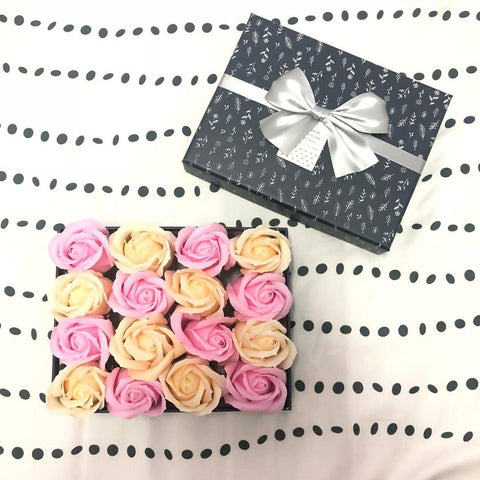 Gift Box with 16 Scented Soap Roses - Pink & Beige