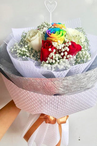 Rainbow with Red & White Roses