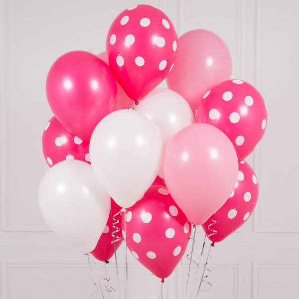 Pink Polka Dot Helium Big Bunch