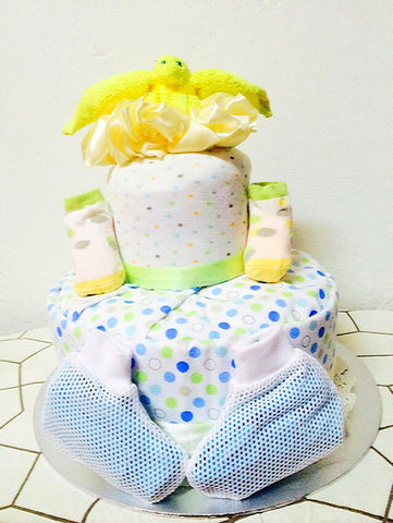 White Choco Dotty Diaper Cake