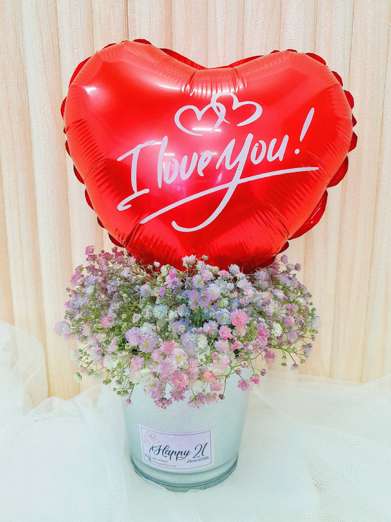 Baby Breath With Balloon Arrangements (Valentine's Day 2021)