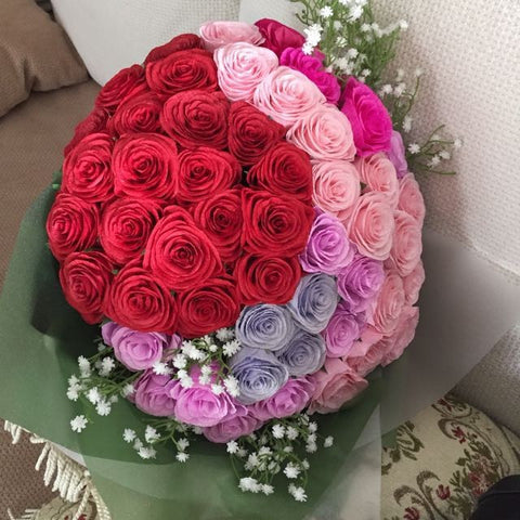 51 Handmade Paper Roses Bouquet