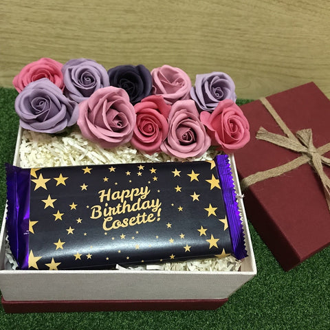 Birthday Gift Box with 9 Scented Soap Roses