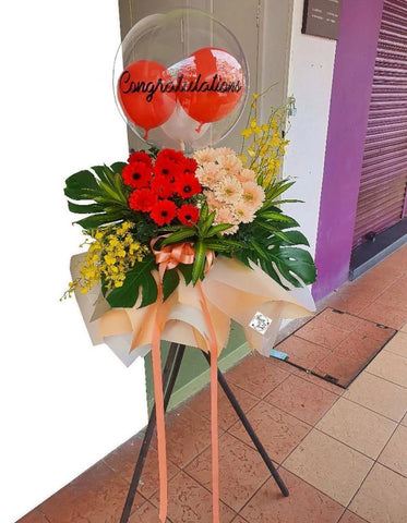 Pink and Red Gerbera Opening Flower Wooden Stand