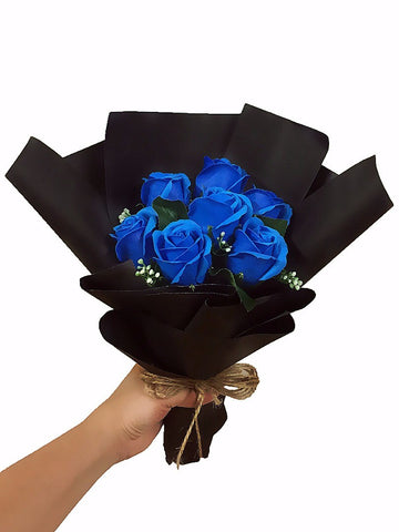 Blue Soap Rose Flower Bouquet