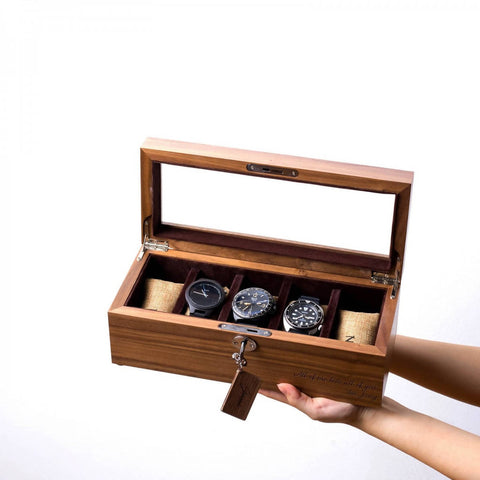 Personalized 5 Slots Walnut Wood Watch Box (4-6 Working Days)
