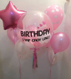 Customised 'Happy Birthday' Bubble Balloon Package (Pink & White)