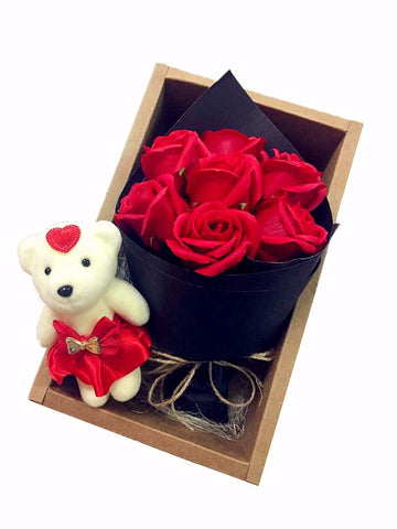 Red Soap Rose Flower Bear Bouquet In Box