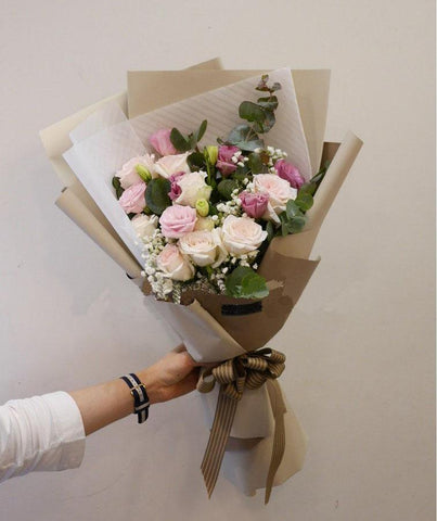 'Strawberry Muffin' Roses & Eustoma Bouquet (Penang Delivery only)