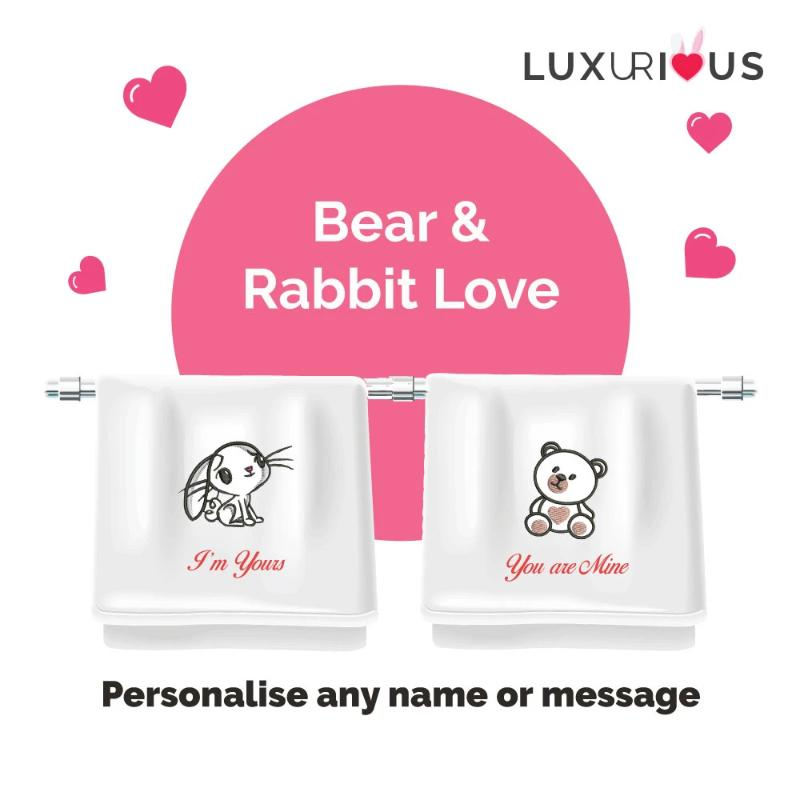 Personalised Couple Towel (Set of 2) : Bear & Rabbit Love