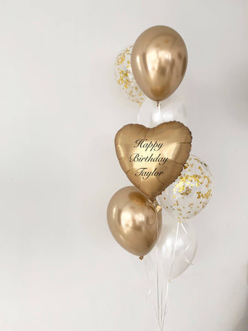 Satin Luxe Gold Heart Balloon Bouquet