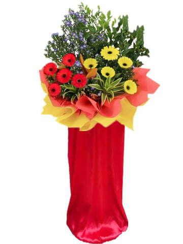 Red & Yellow Gerbera Grand Opening Flower Stand