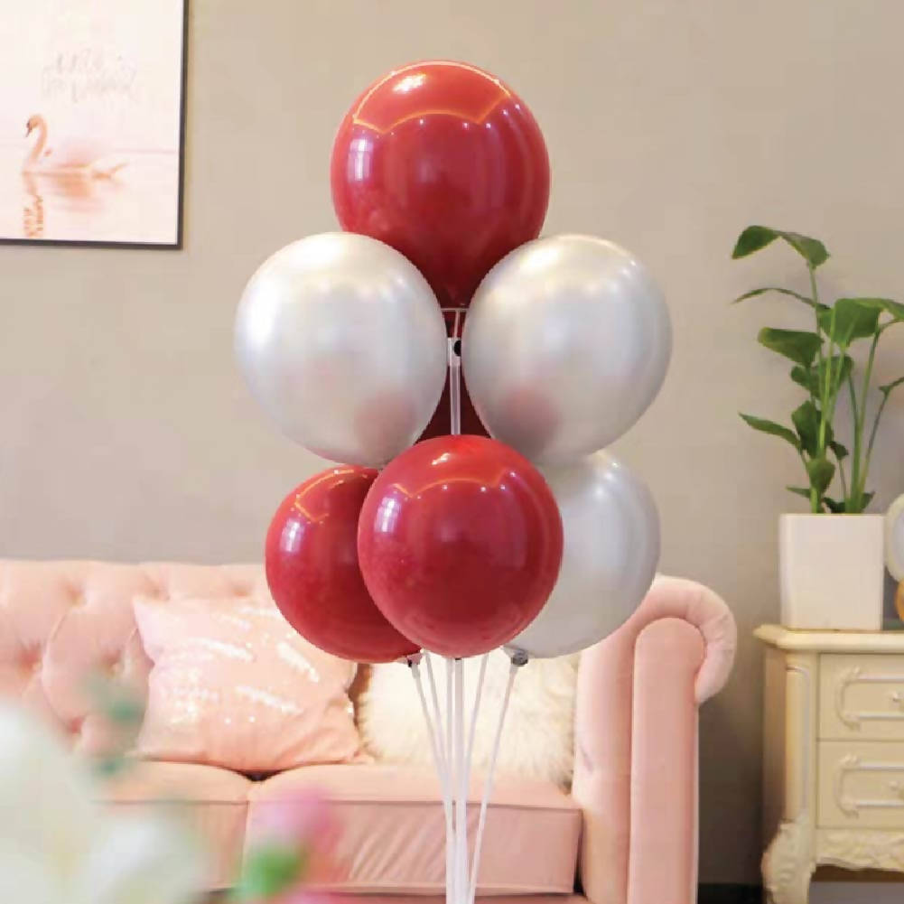 Red Silver Helium Balloon Bunch