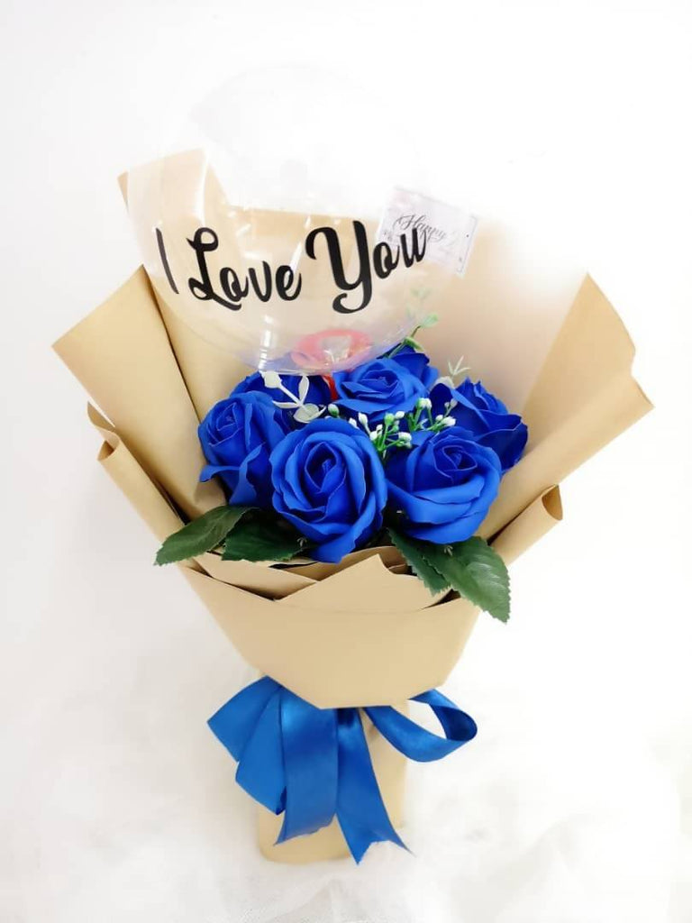 Blue Soap Rose With Transparent Balloon Bouquet
