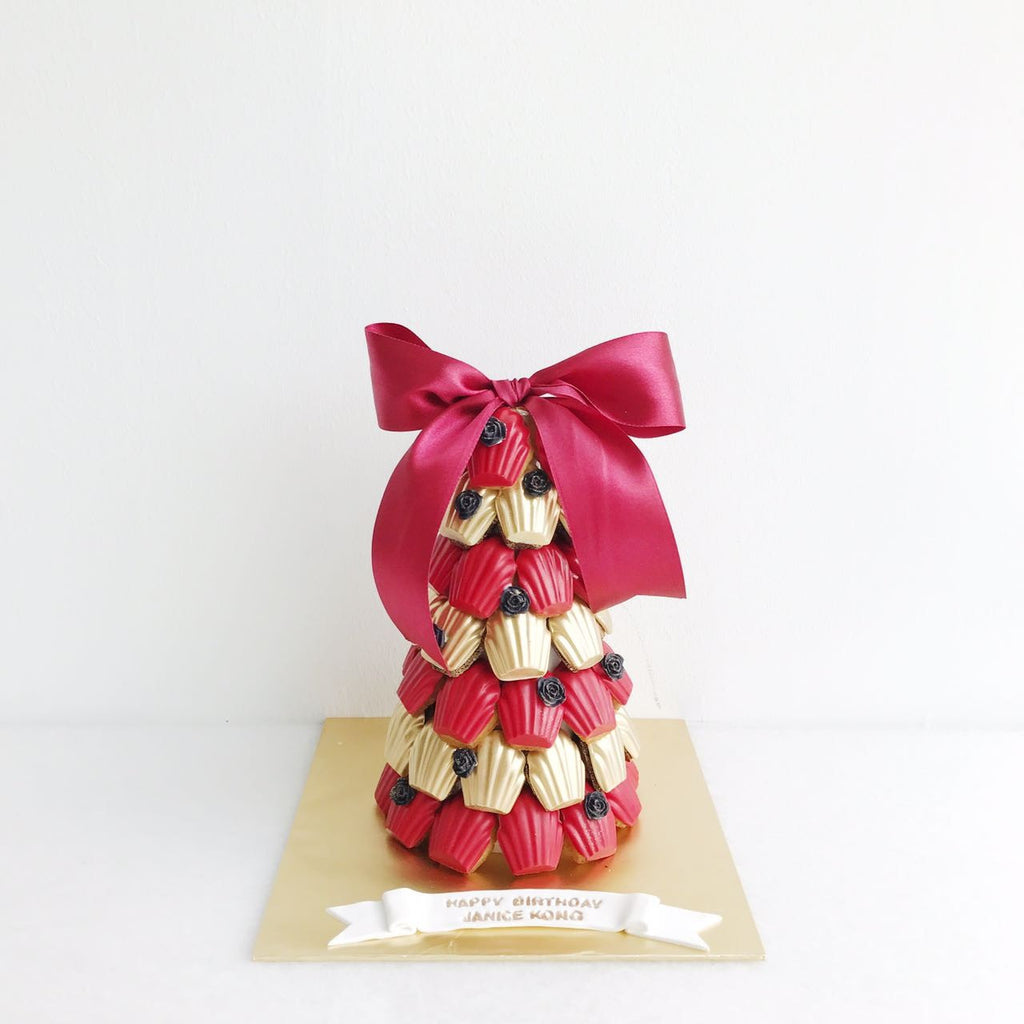 Red & Gold Madeleine Tower with Mini Black Rose