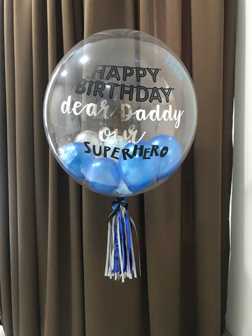 "Single 24"" Bubble With Mini Balloons in Blue & Silver"