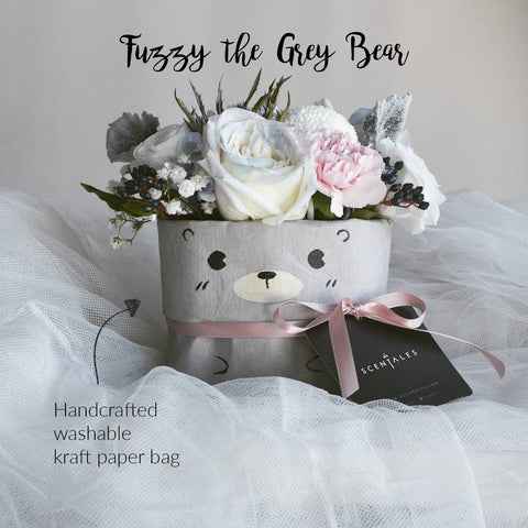 Fuzzy the Grey Bear (Christmas Flower Box)