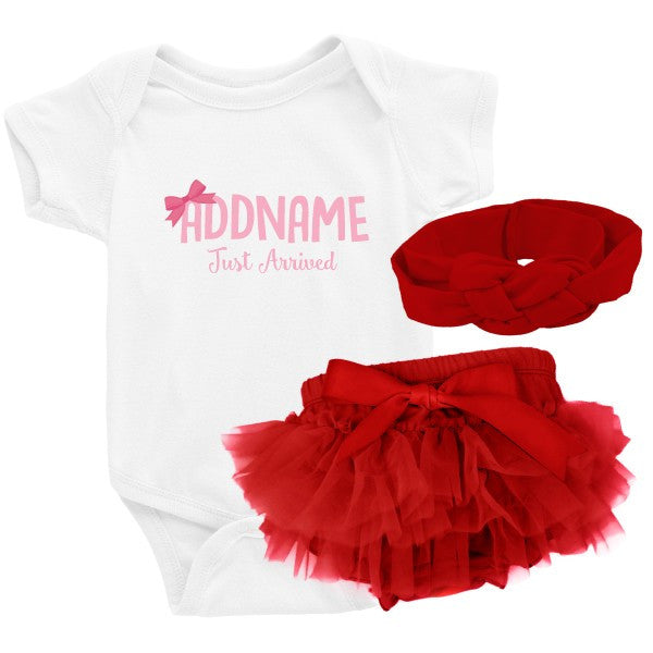 TeezBee Just Arrived Baby Girl - Baby Pink Text Gift Sets