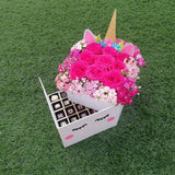 Unicorn Bloom Surprise Box (Flowers & Chocolates)